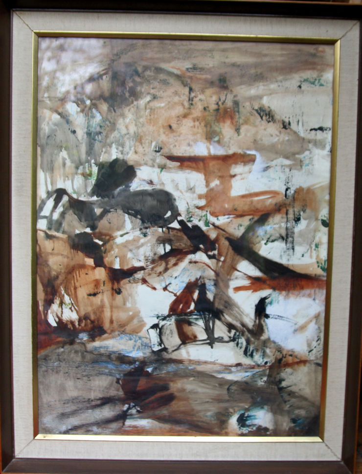 Australian Abstract Landscape watercolour by Judy Cassab at Richard Taylor Fine Art