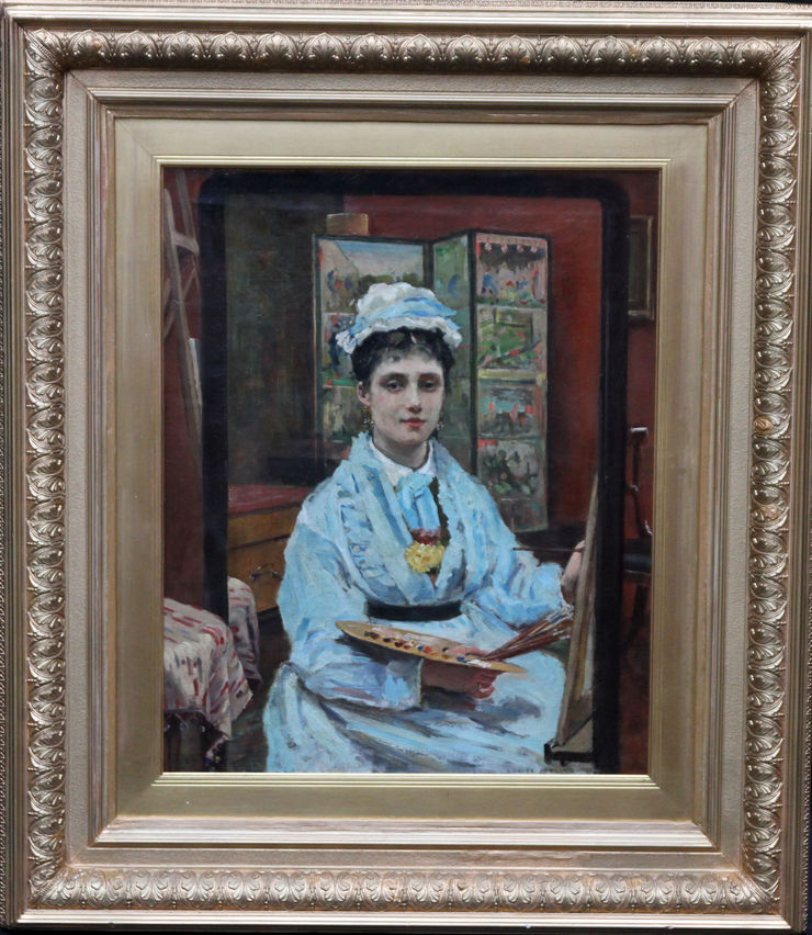 Victorian Self Portrait of Artist at Easel  Louise Jopling at Richard Taylor Fine Art