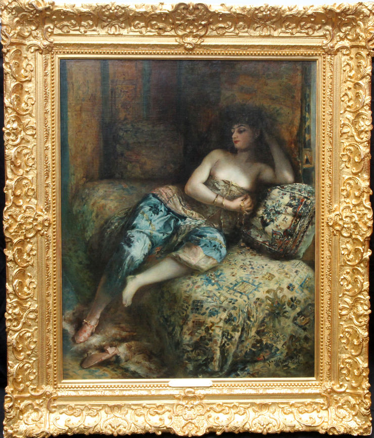 Orientalist Harem Portrait by Lucien Laurent Gsell at Richard Taylor Fine Art