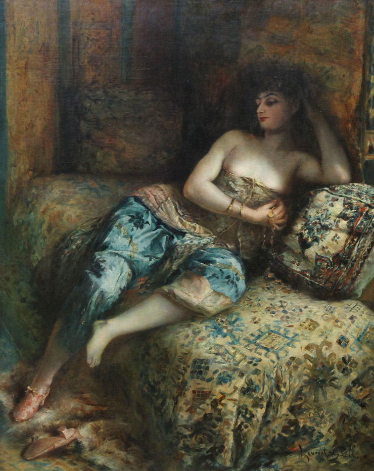 Woman in a Harem by Lucien Laurent Gsell Richard Taylor Fine Art
