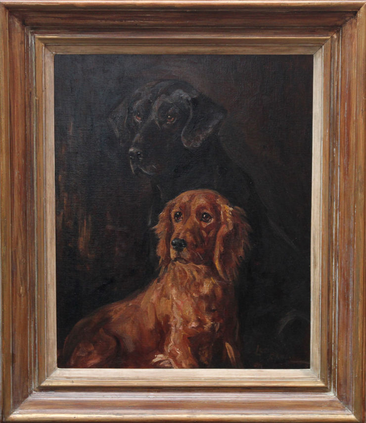 Portrait of Two Retriever Dogs by Lucy Dawson at Richard Taylor Fine Art
