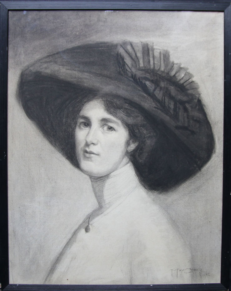 Portrait of Suffragette Decima Moore by Maria Cowell nee Sayer at Richard Taylor Fine Art