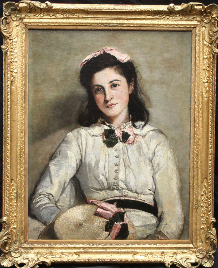 British Edwardian Portrait oil painting by Mary Rischgitz at Richard Taylor Fine Art