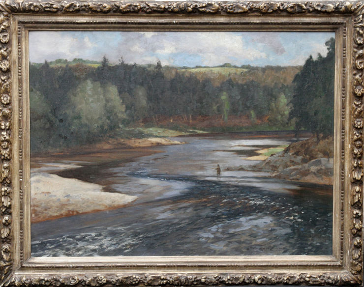 Fisherman on the Upper Spey Scotland by Norman Wilkinson at Richard Taylor Fine Art