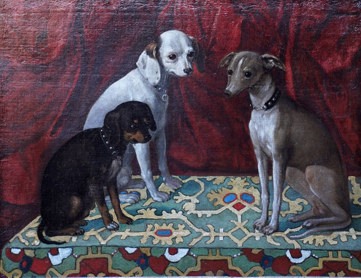 Dogs on Ushak Carpet 17thC art by Francesco Fieravino Richard Taylor Fine Art
