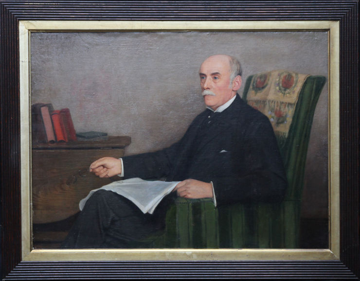 Edwardian Portrait of a  Gentleman Reading by Onslow Ford at Richard Taylor Fine Art
