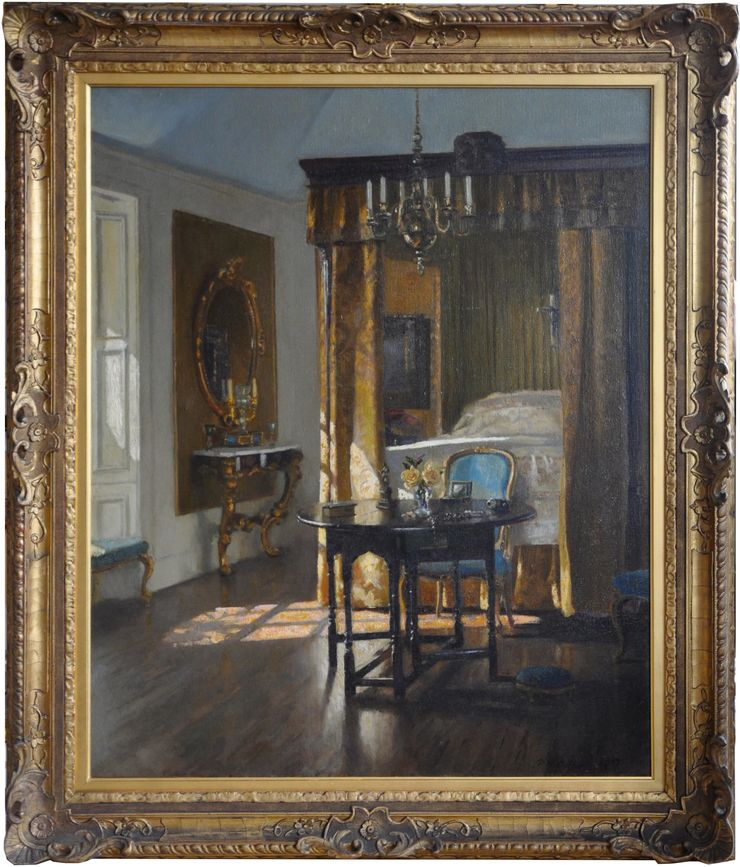 The Yellow Bed Scottish interior by Patrick William Adam  at Richard Taylor Fine Art
