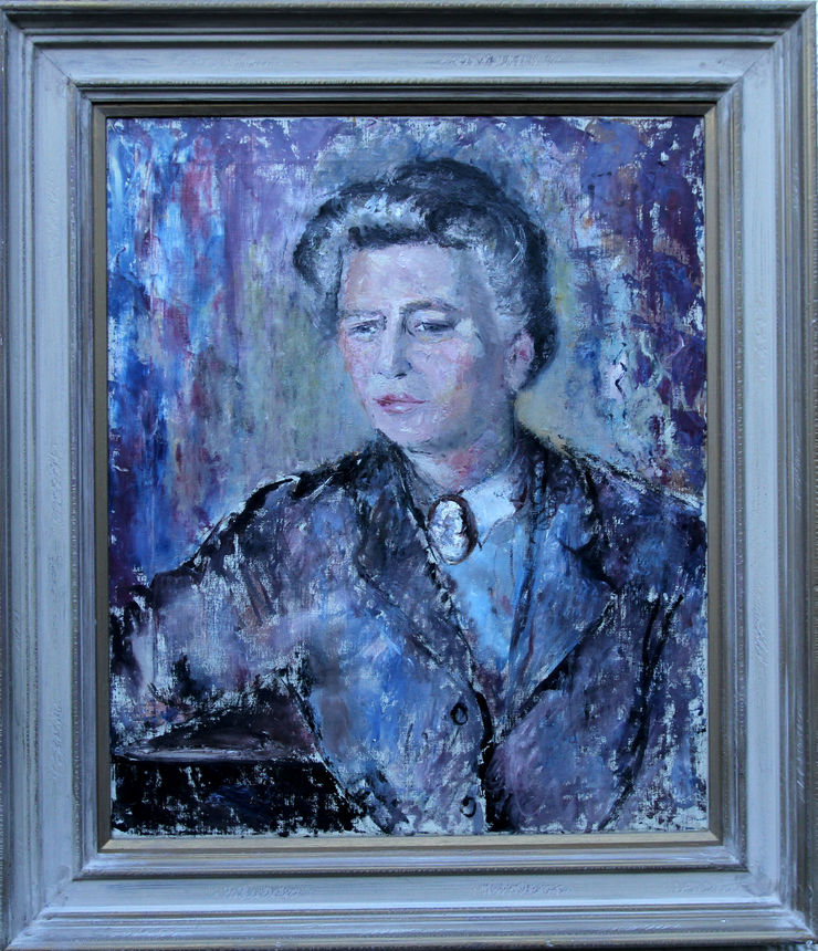 Portrait of a Lady in Purple by Pauline Glass at Richard Taylor Fine Art