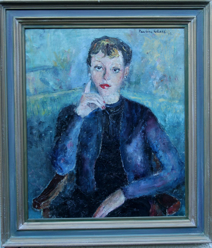 French Lady in Blue by Pauline Glass at Richard Taylor Fine Art
