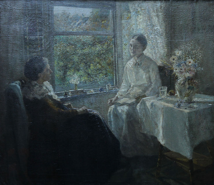 Edwardian British Impressionist interior portrait oil painting by Philip Wilson Steer (circle) Richard Taylor Fine Art