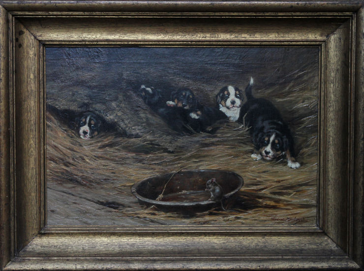 Edwardian Mouse with Spaniel Puppies by Robert Morley at Richard Taylor Fine Art