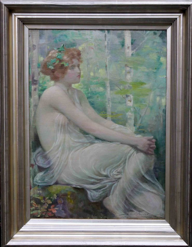 Scottish Pre-Raphaelite Welsh Maiden by Robert Fowler at Richard Taylor Fine Art