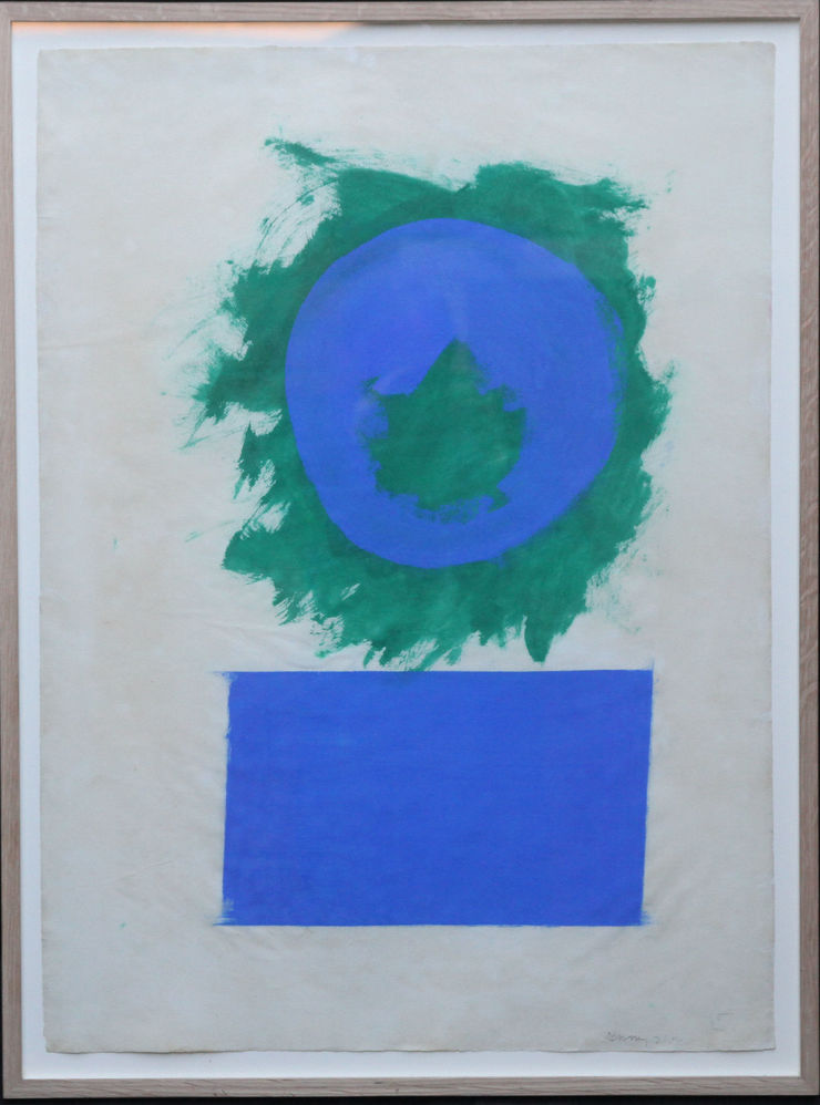 Blue and Green Forms British Abstract Art by Robyn Denny at Richard Taylor Fine Art