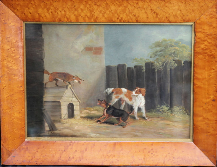 Fox on Dog Kennel by Samuel Alken Victorian sporting artist at Richard Taylor Fine Art