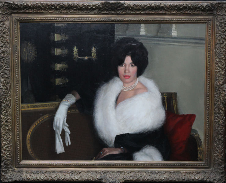 Portrait of Rona Lucas Nee Levey by Sir Gerald Festus Kelly at Richard Taylor Fine Art