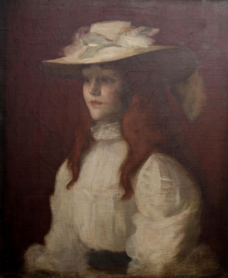 Girl in a Straw Hat by Scottish Glasgow Girl Stansmore Richmond Leslie Deans  Richard Taylor Fine Art