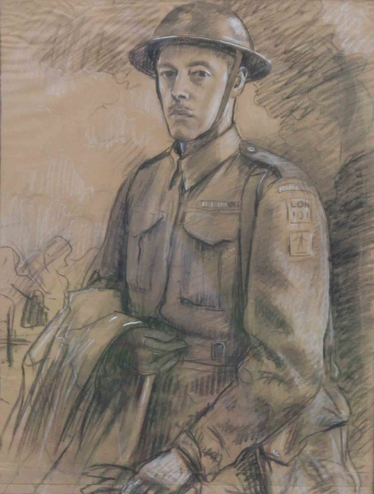 Young Soldier WWII watercolour by Stefani Melton Fisher Richard Taylor Fine Art