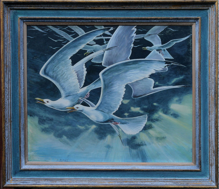 Seagulls St Ives Cornwall by Stuart Maxwell Armfield at Richard Taylor Fine Art