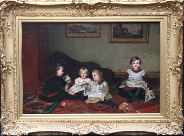 Victorian Children Playing by Susan Isabel Dacre at Richard Taylor Fine Art