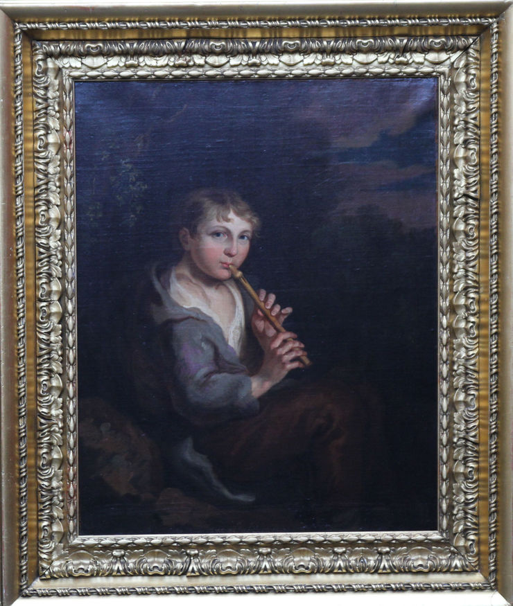 Thomas Barker of Bath Portrait of Boy Playing Flute. British Old Master oil painting Visit Richard Taylor Fine Art