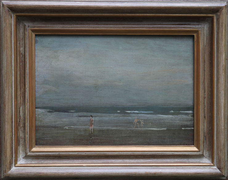 thomas carr - bathers on seashore richard taylor fine art bourlet frame