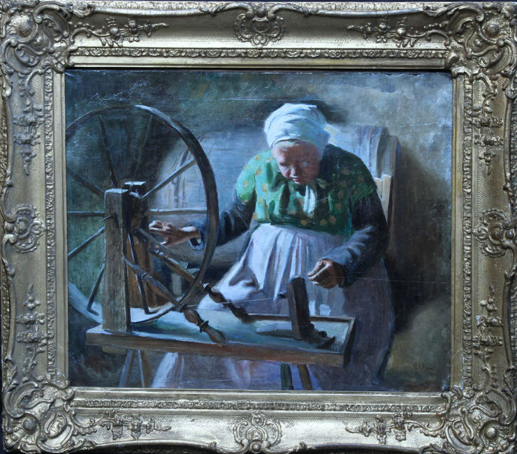 Portrait of Lady Spinning by William Ablett at Richard Taylor Fine Art