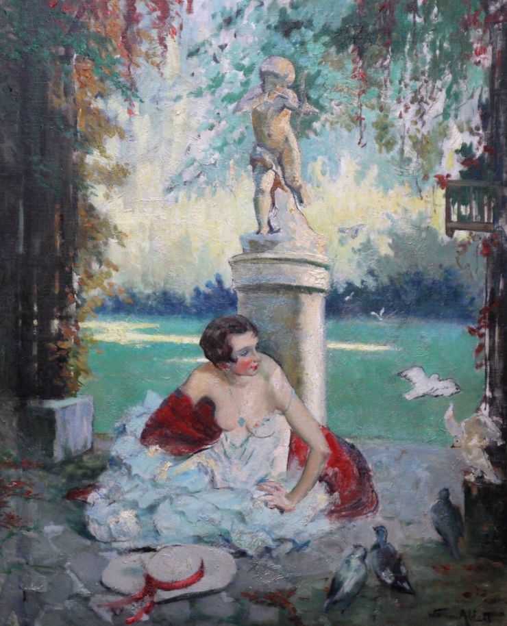 William Ablett Fin d'Ete End of Summer. French Art Deco portrait oil painting