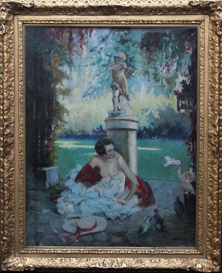 William Ablett  Fin d'Ete  End of Summer. French Art Deco portrait oil painting Visit Richard Taylor Fine Art