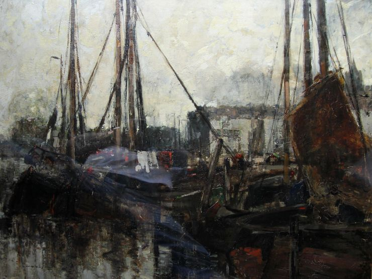 William Alfred Gibson  - Scottish Impressionist harbour - Richard Taylor Fine Art