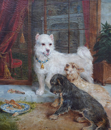 Interior Scene with Dogs