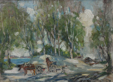 Working Horses in a Scottish Landscape
