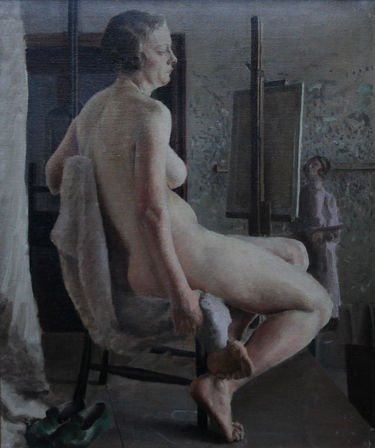 Seated Nude in Life Class with Green Shoes
