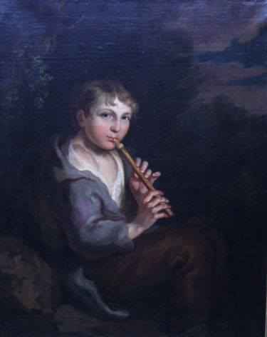 Portrait of a Boy Playing a Flute in a Landscape