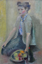 alfred lomnitz - woman with fruit  -richard taylor fine art (1)