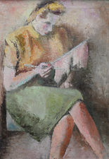 Portrait of Girl Knitting by Alfred Lomnitz Richard Taylor Fine Art