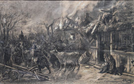 After the Battle Impressionist drawing by Alfred Quesnay de Beaurepaire Richard Taylor Fine Art