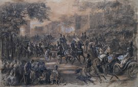Champs Elysees Paris Impressionist drawing by Alfred Quesnay de Beaurepaire Richard Taylor Fine Art