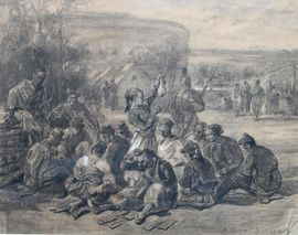 Weary Soldiers drawing by Alfred Quesnay de Beaurepaire at Richard Taylor Fine Art