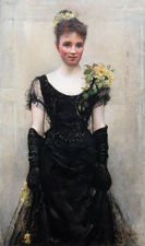 The Debutante 19thC society portrait by Annie Louisa Swynnerton at Richard Taylor Fine Art