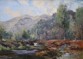 Moorland Stream Scottish  landscape by Archibald Kay Richard Taylor Fine Art