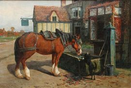 Arthur William Redgate - British Oil Painting - Horse and Dog - Richard Taylor Fine Art