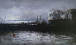 barbara peddie -newhaven harbour edinburough - richard taylor fine art