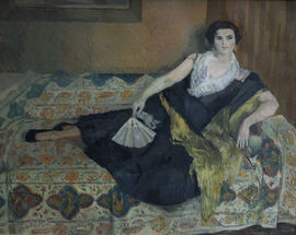 caroline hutchinson  - reclining lady portraity - richard taylor fine art
