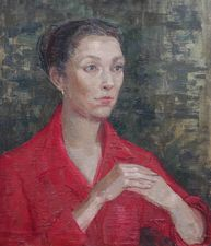 ../Constance Anne Parker - portait - lady in red - Richard Taylor Fine Art
