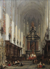 David Roberts  - St Pauls Antwerp - Chirch Interior -  British Old Master- Richard Taylor Fine Art