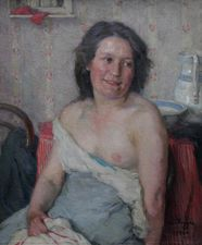 ../David Foggie RSA (1878-1948) - Portrait of a Woman Bathing - Richard Taylor Fine Art