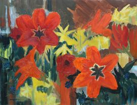 Druie Bowett - tulips and daffodils - Richard Taylor Fine Art