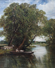 ../Sheep Ferry British Landscape by Edmund Morris Wimperis Richard Taylor Fine Art