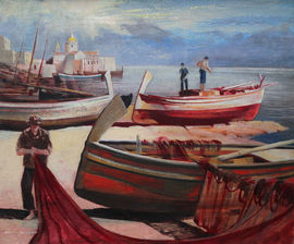 Edward Bouverie Hoyton Beached Maltese Fishing Vessels. British marine oil painting