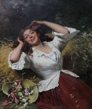 Edwin Robert - A Summer Beauty - Victorian Oil Painting -  Richard taylor Fine Art